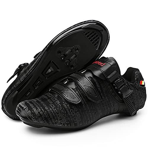 DSMGLSBB Zapatillas De Ciclismo, Luminoso Zapatos De Ciclo del Camino Taco Transpirable SPD Look Delta Compatible Calzado De Ciclismo Indoor Autobloqueo Ultraligero,Negro,43