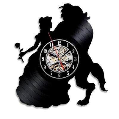 Mdsfe Reloj de Pared de Vinilo Vintage Diseño Moderno Pegatinas 3D de Dibujos Animados La Bella y la Bestia Relojes Colgantes Reloj de Pared Decoración para el hogar Silencioso 12'- 10