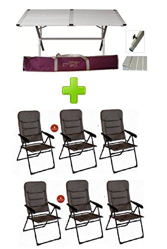 Eettafel Genius 150 x 80 cm van aluminium + 6 stoelen onyx 6 posities navulbaar van aluminium - bekleding voor camping en camping