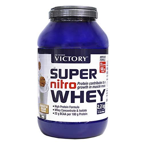 Victory Super Nitro Whey Cookies & Cream (2,2 kg). Combinación Concentrado y Aislado de Suero. Fuente Proteica rica en BCAAs. Recuperación muscular. Con L-Glutamina, Vitamina B6 y Calcio.