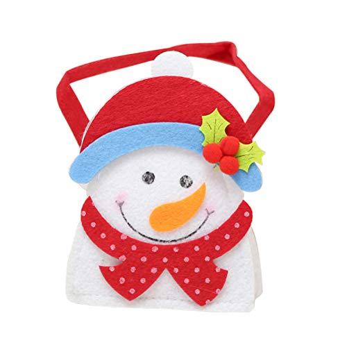 BESTOYARD Kerstmis Vilt Doek Snoepzak Draagbare Cartoon Handtassen Cadeautassen Xmas Decor(Sneeuwman)