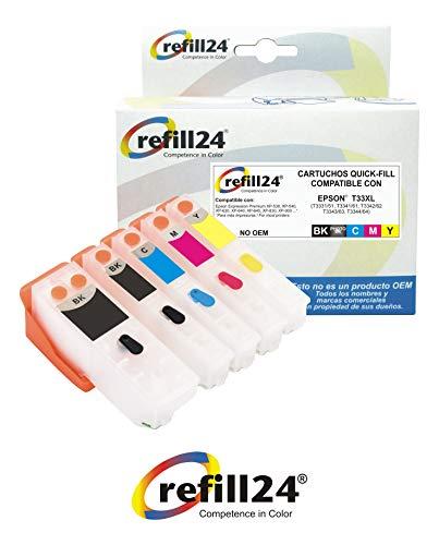 T33-5 X Cartuchos Recargables, Compatible para Epson T3331 + T3342-3344 / T3351 + T3361-3364 / T33XL, T3337, T3357...