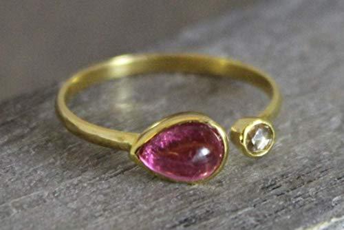 Ring aus 14 Karat Gold mit rosafarbenem Turmalin und Diamant US-Größe 8 / Diameter 18.2mm (norway)