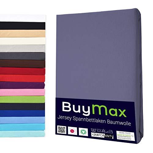 Buymax Spannbettlaken 120x200-130x200 cm Spannbetttuch Bettlaken 100% Baumwolle Jersey Bettbezug für Matratzen bis 25 cm Steghöhe, Anthrazit-Grau