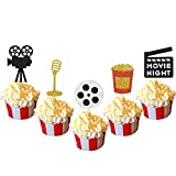 30 Pcs Movie Night Cupcake Toppers Hollywood Theater Themed Birthday Party Supplies Glitter Decorations