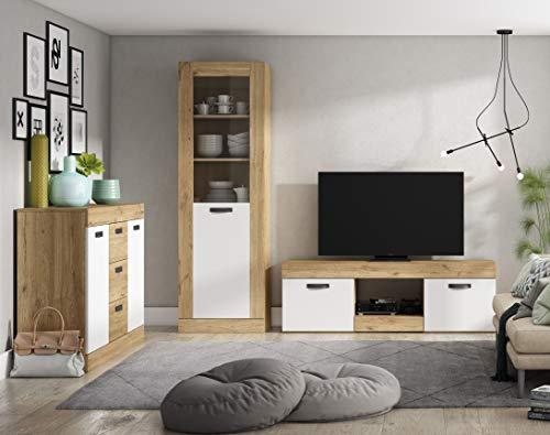 Miroytengo Pack Argos salón Comedor Color Blanco Mate y Naturale Moderno Muebles (Mesa TV + aparador + Vitrina)