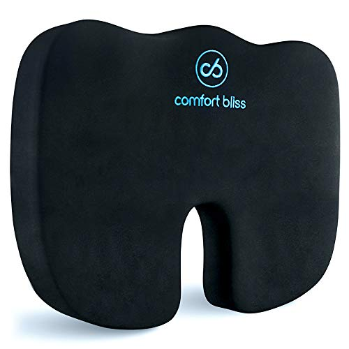 Comfort Bliss Coccyx Seat Cushion - Premium Orthopedic Memory Foam Good Posture for Sciatica Tailbone Back Hip Pain Relief - For Home, Office Chairs, Car Seat, Wheelchair, Pregnancy