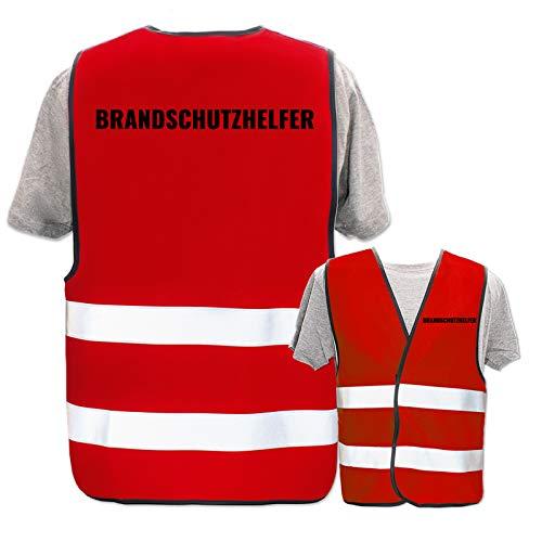 Bedruckte Warnwesten mit ISO-Leuchtstreifen * Standard- oder Reflex-Druck * Erste Hilfe und Brandschutz * Begriff: Brandschutzhelfer * Farbe (Größe): Rot (M/L)