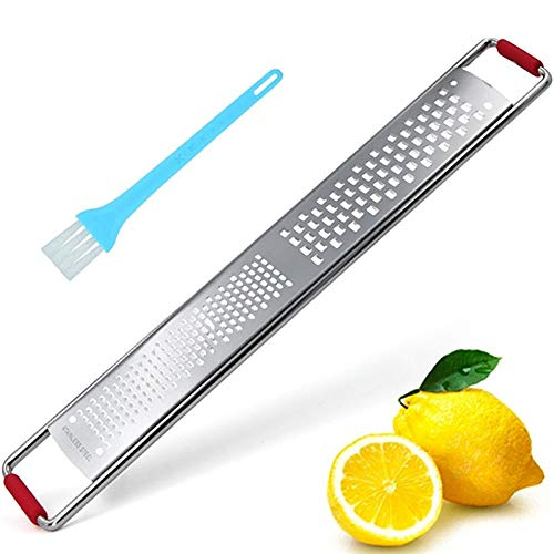 Cheese Grater Stainless Steel Citrus Lemon Zester with Nonslip Rubble Handle and Cleaning Brush for Parmesan Citrus Ginger Potato Chocolate and Fruits