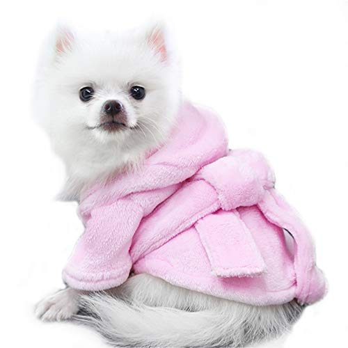 Mummumi Pet Bathrobe, Dog Hooded Bath Towel Pajamas Quick Drying Super Absorbent Pet Cat Bath Robe Dog Clothes for Puppy Small Dogs Cats (M:Pink)