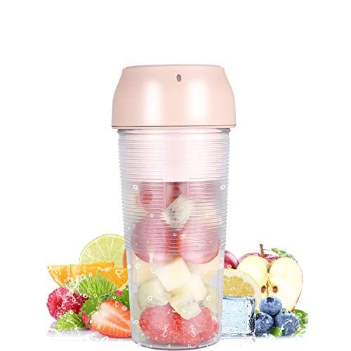 Protable Blender,Juicer Cup,USB Sports Blender for Shakes and Smoothies, Personal Size Blender,Made with BPA-Free Material Portable Juicer, for Home,Office,Sports,Outdoors,School(Pink)