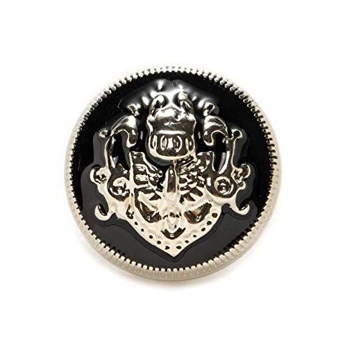 Home 5 stks Lion Enamel Metal Knoppen voor Naaien Plakboek Jas Blazer Truien Gift Crafts Handwerk Kleding 10-25mm, Zwart zilver, 18mm