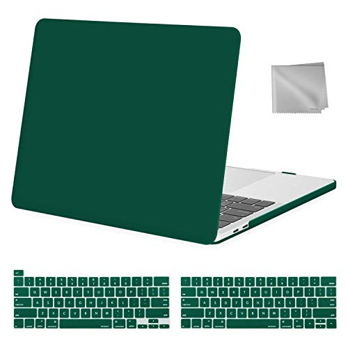 MOSISO MacBook Pro 13 inch Case 2020 2019 2018 2017 2016 Release A2289 A2251 A2159 A1989 A1706 A1708, Plastic Hard Shell&Keyboard Cover&Wipe Cloth Compatible with MacBook Pro 13 inch, Peacock Green