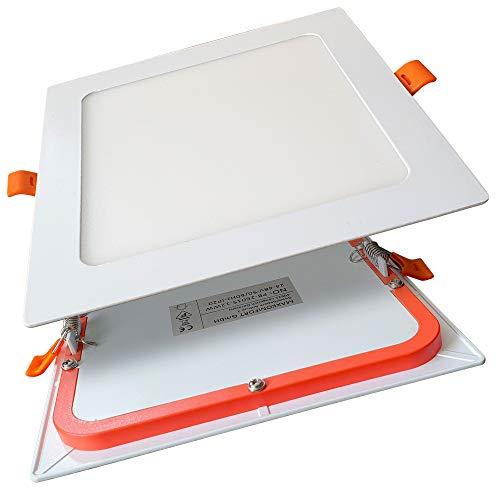 6er SET LED Panel 12W eckig flach ultraslim neutralweiß Einbaustrahler Spot Einbauspot Deckenleuchte Weiß