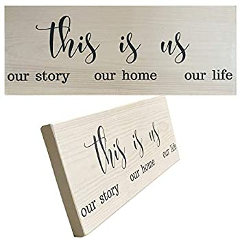 Let the Fun Begin Rustic Wood Signs for Home Decor Gift Wooden Sign with Sayings Plaques and Quotes  This is Us No Year White