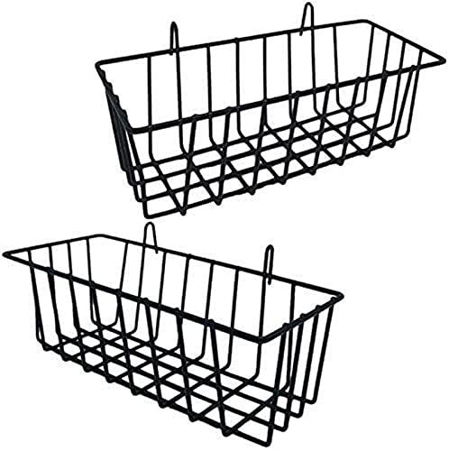 Ghlevo 2 Paquetes de la Rejilla de la paredera Cesta de Alambre Colgante, Canasta de Almacenamiento de Pared de cuadrícula, cestas de Montaje en Pared Mostrar estantes para la Cocina, hogar
