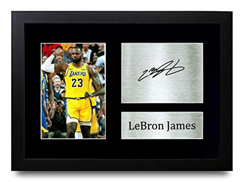 HWC Trading Lebron James Los Angles Lakers, gedrucktes Autogramm für Basketball-Fans, gerahmt, A4