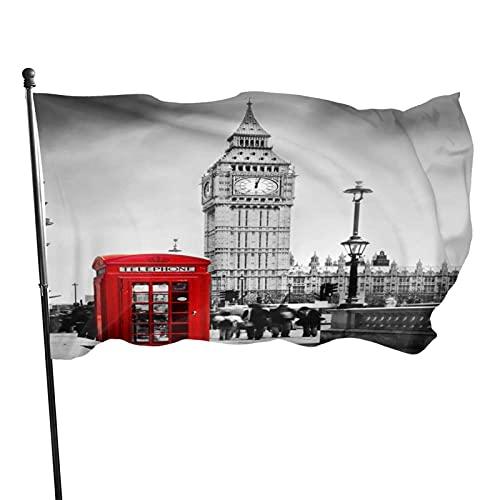 WH-CLA Bandera del Jardin Cabina De Teléfono Roja De Inglaterra Bandera De Jardín De Todas Las Estaciones Bandera De Jardín De 90X150 Cm Decora Bandera De Jardín De Color Vivo Al Aire Lib