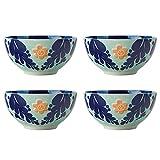 Maxwell & Williams Juego de 4 Platos de Tapas y Tazones de Porcelana Mayólica con Diseño Floral, 12,5 x 6 cm Azul Marino