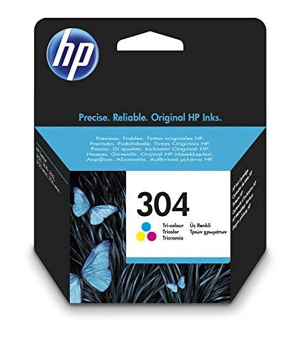 HP 304 N9K05AE, Tricolor, Cartucho de Tinta Original, compatible con impresoras de inyección de tinta HP DeskJet 2620, 2630, 3720, 3730, 3750, 3760, HP Envy 5010, 5020, 5030