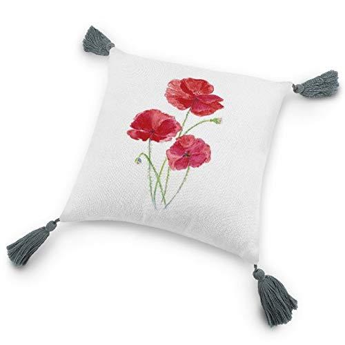 Funda de almohada con inserto de 9.8 x 9.8 pulgadas, original acuarela roja amapola jardín flor decorativa funda de cojín con borlas para dormitorio sala de estar sofá