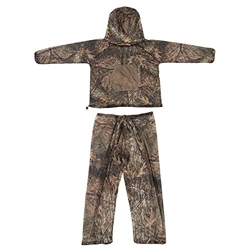 LOOGU Mückenschutz Kleidung Imkeranzug 3D Woodland Camouflage Design Moskito Netz feinmaschig Schutzanzug Ultraleicht Insektenschutz Jacke und Hose Schutzkleidung für Imkerei Angeln Garten Camping