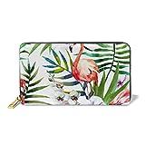 XLFD Billetera de Cuero Hand Painte Tropical Nature Fashion Women Long Genuine Leather Wallet with Zipper