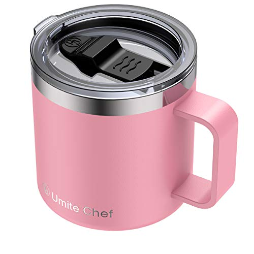 Stainless Steel Insulated Coffee Mug Tumbler with Handle Umite Chef 14oz Double Wall Vacuum Travel Tumbler Cup with Sliding Lid Travel Friendly Pink