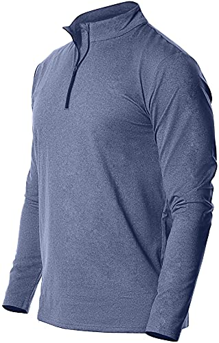 Fort Isle Men's Long Sleeve Half-Zip Pull Over Shirt - XL - Blue - Quick Dry Performance for Running