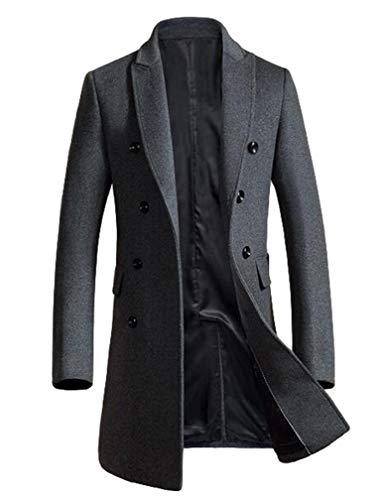 Minibee Men's Woolen Trench Coat Double Breasted Slim Fit Winter Overcoat Long Jacket Business Pea Jacket Grey 2XL