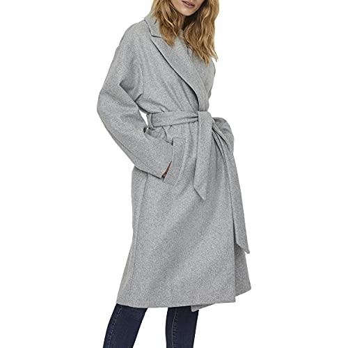 VERO MODA Damen VMFORTUNE Long Jacket PI Mantel, Light Grey Melange, M