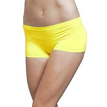 Ekimo T-USA Stretch Seamless Dance Exercise Yoga Mini Panties Boy Shorts Briefs Spankies  Neon Yellow