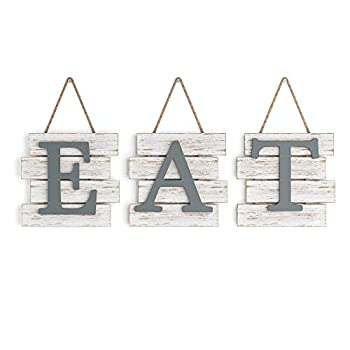 """Barnyard Designs Eat Sign Wall Decor Rustic Farmhouse Decoration for Kitchen and Home Decorative Hanging Wooden Letters Country Wall Art Distressed White/Grey 24  x 8"""""""