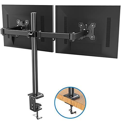 Dual Monitor Stand - Double Articulating Arm Monitor Desk Mount - Adjustable VESA Bracket with C Clamp, Grommet Mounting Base for Two 13-27 Inch LCD Computer Screens - Holds up to 17.6lbs by HUANUO