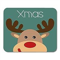 マウスパッドグラフィックレッドセレブレーションクリスマストナカイ顔付きクリスマス碑文12月