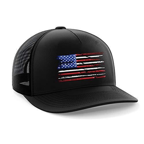 Tactical Pro Supply American Flag Snapback Hat - Embossed Logo American Cap for Men Women Sports Outdoor - Black (U.S Flag)