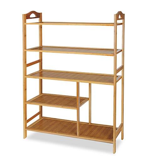 Hapilife 5 Tier Bamboo Shoe Rack Storage Organiser Entryway Shoe Shelf 68 x 26 x 92cm Made of 100% Natural Bamboo