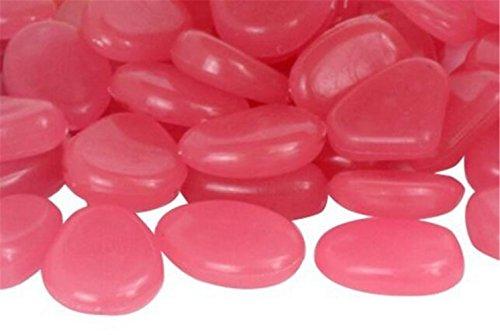 Singeru Leuchtsteine 100 STK künstliche Kieselstein leuchtende Kiesel Aquarium Floureszierende Pebbles Stein Garten DIY Deko (Pink)