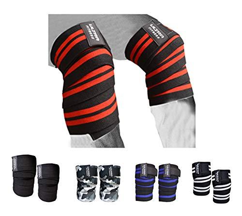 ULTRA FITNESS Rodilleras de levantamiento de pesas Correas de protección Almohadillas de protección para gimnasio Powerlifting (negro y rojo)