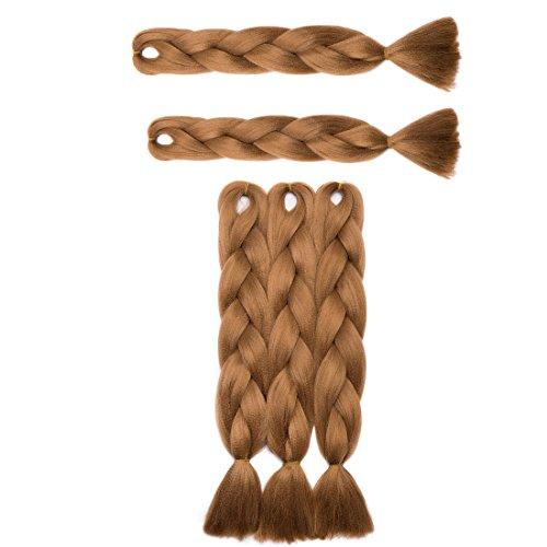 Haarverlängerung 60cm Crochet Braids Two Tone Ombre Braiding Haar Synthetik Braid 5 Pcs /500g - Helles Kastanienbraun