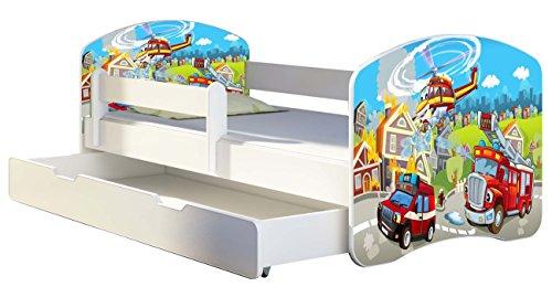 Kinderbett Jugendbett mit einer Schublade und Matratze Weiß ACMA II 140 160 180 40 Design (160x80 cm + Bettkasten, 36 Feuerwehr)