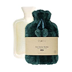 BEST FLUFFY HOT WATER BOTTLE: The luxury furry cover is soft against the skin and provides a cosy barrier from the heat from our big hotwaterbottle. Not only that, but the plush outer green cover keeps the heat in so you experience the soothing comfo...