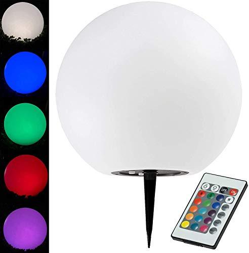 Solar Kugelleuchte für Aussen 40cm LED RGB + Warmweiß Gartenleuchte mit Fernbedienung Erdspieß IP44 Wetterfest Lichtsensor Verstellbare Farben Kunststoff Gehäuse Weiß