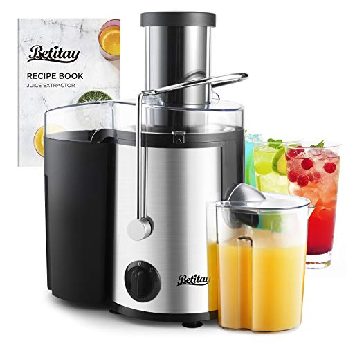 Betitay Juice Extractor Maker with Recipe,Detachable Dual Speed Centrifugal Juicer Machine with Non-drip Wide Feed Chute Filter with Built-in Blade for Fruits and Vegetables