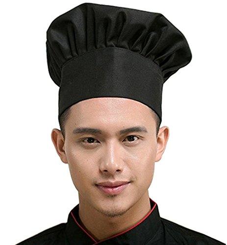 Hyzrz Chef Hat Adult Adjustable Elastic Baker Kitchen Cooking Chef Cap (Black)