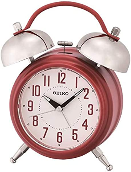 SEIKO Traditional Dual Bell Alarm Clock With Snooze And Light Red