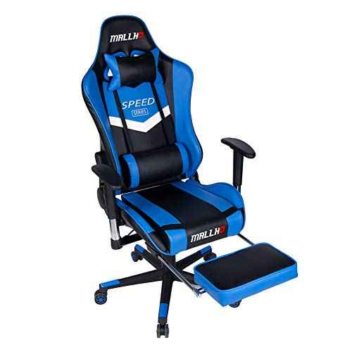 Polar Aurora Ergonomic Gaming Chair High Back Swivel Racing Office Chair PU Leather Sturdy Metal Frame with Adjustable Armrests and Footrest/Blue