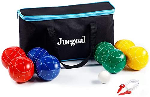Juegoal Bocce Ball Set 90mm Red Green Blue and Yellow Balls Pallino and Measuring Rope with product image