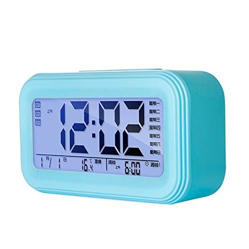 Relojes de escritorio del reloj de cabecera Sencillo moderno Digital Reloj de alarma LCD Pantalla LCD Snooze Electronic Reloj de alarma Mute Cama de noche Dormitorio Noche Reloj de Luz de Luz Estudian