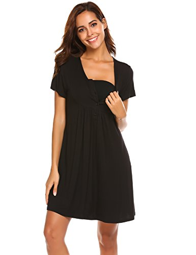 Ekouaer Nursing Dress Maternity Nightgown Labor Delivery Gown Hospital Breastfeeding Dress (Black, XX-Large)